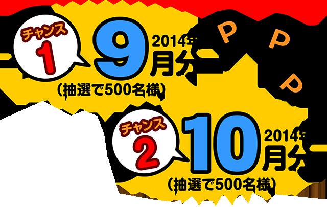 チャンス1:2014年9月分、チャンス1:2014年10月分(各抽選500名様)